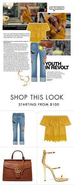 """Hold Up inspiration"" by marianapnogueira ❤ liked on Polyvore featuring Alexander McQueen, Madewell, Hedi Slimane, Gucci, Giuseppe Zanotti, music, Beyonce, trend, inspiration and holdup"