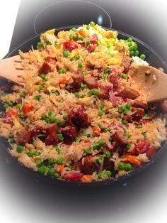 Spanish chorizo, sweet sausage, & vegetables w/ fried rice:)