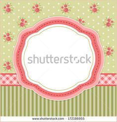 Shabby Chic Wallpaper Border | Retro card with oval frame on shabby chic background with roses for ...