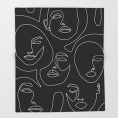 Faces in Dark Throw Blanket