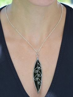 Stained glass pendant grass green leaf necklace by OrioleStudio