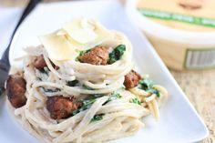 Sausage Kale Pasta with Feta Sauce