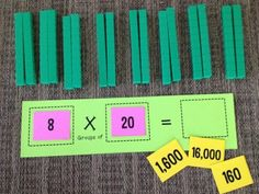 Math Coach's Corner: Extending Multiplication to Larger Numbers. Using concrete, pictorial and representational models for multiplication. Multiplication Activities, Math Activities, Maths, Math Coach, Fourth Grade Math, Math Intervention, Math Stations, Math Centers, Math Workshop