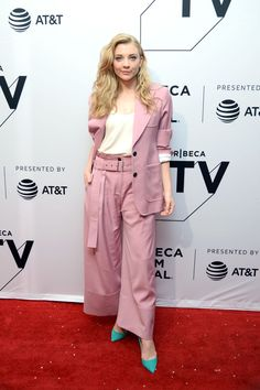 Natalie Dormer wearing a pink Eudon Choi suit to the 'Picnic at Hanging Rock' Tribeca Film Festival Premiere