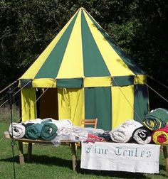 12ft Green and Yellow Removable Wall Round Medieval Tent