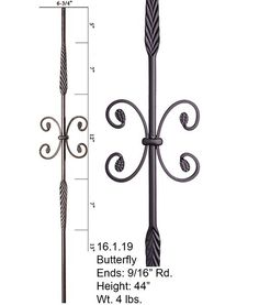 16.1.19 Single Feather Baluster Ends: 9/16″ Rd. Height: 44″ Wt. 4 lbs. Pairs with: All 9/16″ Rd. Balusters Shoes: 16.3.13, 16.3.16 The 16.1.19 Round series iron baluster features two 7″ feathered ornaments and a single butterfly. This baluster is solid wrought iron and is 9/16″ round on the ends. It uses the shoes for the nine sixteenth inch balusters 16.3.13 and 16.3.16. This plain baluster pairs with all other Round series balusters.