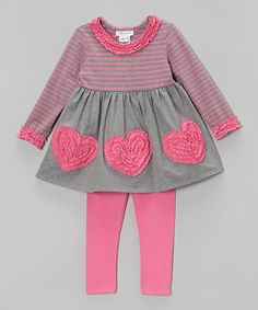 Love this Pink & Gray Stripe Heart Tunic & Pink Leggings  - Toddler by Gerson & Gerson on #zulily! #zulilyfinds