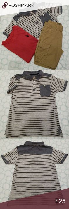 """U.S. Polo boy's short sleeve shirts 2 shirts!! size: 5T to 6T One 100% cotton stripped polo shirt, 3 button down front. detailed with jean like material. 1 front pocket. Second top: orange-y red short sleeve,V-neck tee. gently used  Inside logo """"Polo"""" """"O"""" peeling off a bit & some loose threads in like 2 places, but in good condition . Pair these shirts with some Khakis😁😉 U.S. Polo Assn. Shirts & Tops"""