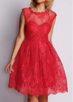 Red Lace Lace Fit and Flare Short Cocktail Dress Sale On www.lulugal.com, $27.19, Free Shipping!