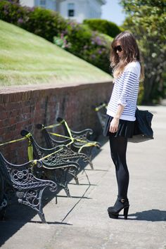 stripes. chunky heels.