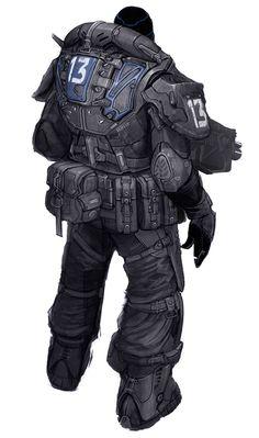 Gears of War Art & Pictures,  COG Trooper Back