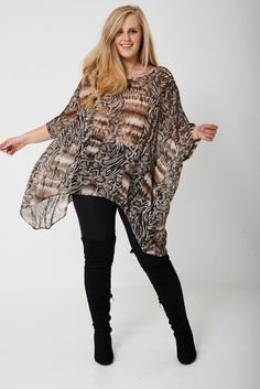 Lagenlook Plus Size Sheer Kimono Top Tunic Cover Up Animal Print Chiffon 18 - 24 Bustier Top, Print Chiffon, Kimono Top, Cover Up, Bell Sleeve Top, Tunic Tops, Plus Size, Clothes, Women