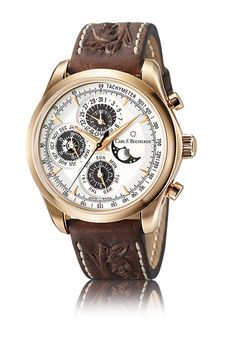 The aptly named Chrono Perpetual uses an in-house movement, made at the brand's atelier, to power both a chronograph and a perpetual calendar with moon-phase and leap year. Carl Bucherer