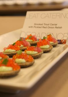 Smoked trout caviar with pickled red onion relish