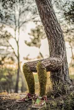 Human Nature: Monsieur Plant Surrealist installation where Nature and Humans merge and become one   #artinstallation #environment #forest #france #humannature #monsieurplant #nature #plant #thecamp #tree #treetrunk #video #woodsculpture