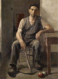 """Alberto Helios Gagliardo 1932 """"Contadino con la zappa"""""""