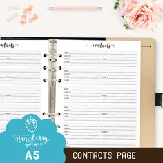 Planner inserts A5: CONTACTS Printable planner by StrawberryScraps
