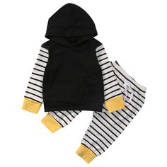 >> Click to Buy << Casual Newborn Baby Boy Girl Clothes Set Long Sleeve Hooded Sweatshirt Tops Striped Pant 2PCS Outfit Toddler Kids Clothing #Affiliate