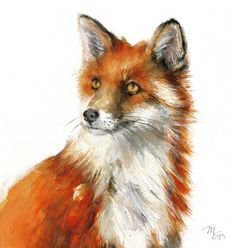 Red Fox painting  Woodland Fox Print  Fox Portrait by MiraGuerquin