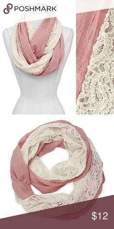 """Lace  Infinity Scarf Pink Measurements:21""""W x 60""""L Material: 50% Cotton, 50% Polyester Color: Pink Weight (lbs.):0.35 Accessories Scarves & Wraps"""