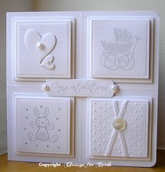 White on White Baby cards Baby Girl Cards, New Baby Cards, Cards Ideas, Baby Shower Cards, Card Making Inspiration, Handmade Baby, Kids Cards, Cute Cards, Creative Cards