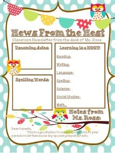 Owl Themed Classroom Newsletter!