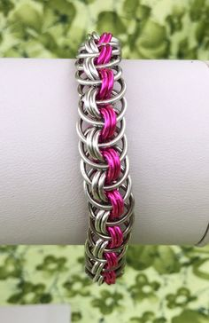 Hot Pink and Silver Viper Basket Weave Bracelet  by DaisiesChain, $18.00