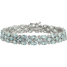 Womens 7.25 Inch Blue Topaz Sterling Silver Link Bracelet ($467) ❤ liked on Polyvore featuring jewelry, bracelets, sterling silver jewellery, blue topaz jewelry, sterling silver jewelry and sterling silver bangles