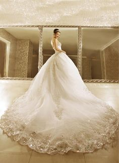 Dresswe.com SUPPLIES Noble Ball Gown Strapless Beads Cathedral Train  Wedding Dress Wedding Dresses 2014