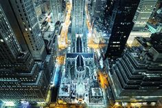 St. Patrick's Cathedral from Above at Night, New York City - by Andrew Mace