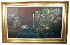 Add an Old World sophistication to your space with this oil on canvas painting. It showcases a brass vase of sunflowers, and is signed by the artist in the lower left. Tastefully displayed in a heavy gilt wood frame, it's in excellent vintage condition.