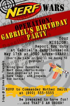 NERF GUN Party Invitations Digital file by PrintingTheMoon