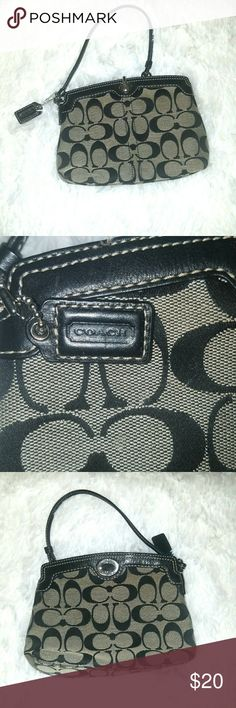 [Coach] Signature Wristlet Coach Signature Wristlet. Black.  Minor staining on bottom. Coach Bags Clutches & Wristlets