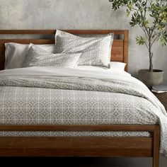 Taza Grey Duvet Covers and Pillow Shams  | Crate and Barrel -- Restoration Hardware linens disappointed.