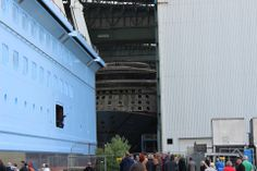 Anthem of the Seas almost out of Meyer Werft Hall 6 during floating out on June 1 2014.    Photo by HD1080ide.