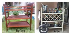DIY bar cart from an old changing table