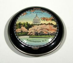 Vintage WASHINGTON DC Souvenir COMPACT with POWDER SIFTER Screen NEVER USED!! | eBay