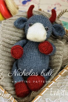 Crochet Animal Patterns, Amigurumi Patterns, Knitting Patterns, Handmade Ideas, Handmade Toys, Knitting Increase, Bull Bull, Knitted Animals, Crib Sets