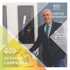 Dr. João Paulo Almeida é um patologista clínico e tem sido o Presidente da Sociedade Portuguesa de Medicina Desportiva, e médico da equipa de futebol SL Benfica desde 2003. Ele também faz parte da comissão médica da equipa olímpica de Portugal para o Rio 2016. Na fotografia ao lado do BTL Laser de Alta Intensidade.