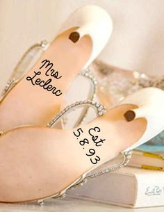 If sneakers aren't your style, remember your special day with custom shoe decals with the date of your wedding! | 28 Creative And Meaningful Ways To Add A Personal Touch To Your Wedding