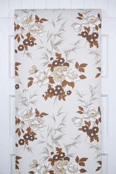 1960s retro floral wallpaper with neutral roses