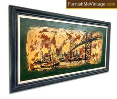 Oil painting of the Golden Gate Bridge. Love San Francisco!  #furnishmevintage #art #midcenturymodern