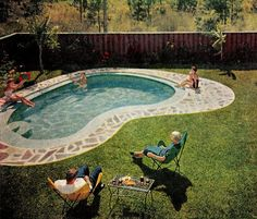 The backyard 'kidney' shaped swimming pool was a really popular pool shape n the 50's.