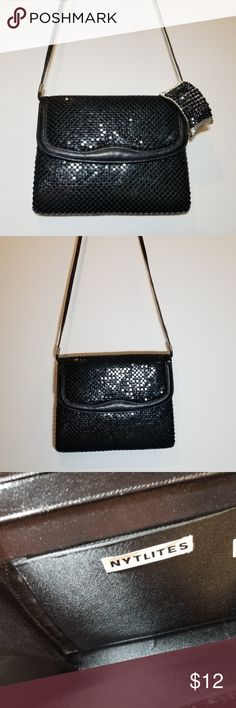 """Black sparkly evening clutch with optional strap The perfect evening bag to jazz up any outfit.  *40"""" strap that can be tucked inside to make it an instant clutch *6""""H x 8""""L x 1""""W *accordion style with magnetic clasp front closure *1 inner pocket *impeccable inside Bags"""