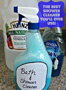 """Very similar to our own recipe for the """"helping bottle"""": """"Home made Shower Cleaner works better than store brands"""""""