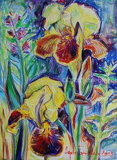 Kwiaty. Kompozycja kwiatowa o inensywnej kolorystyce z efektem faktury wykonana farbami akrylowymi na płótnie, bez oprawy. Znakomicie zaprezentuje się w nowoczesnym wnętrzu.