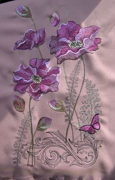 Border Embroidery Designs, Floral Embroidery Patterns, Embroidery Suits Design, Japanese Embroidery, Embroidery Fabric, Beaded Embroidery, Machine Embroidery Designs, Embroidery Stitches, Brazilian Embroidery