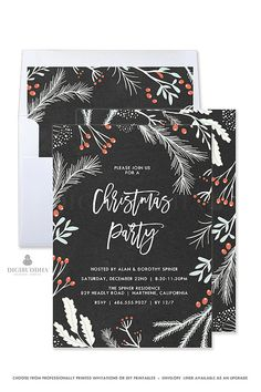 CHRISTMAS PARTY INVITATION Christmas Party Invite Holiday Party Invitation Custom Christmas Invitation Chalkboard Party Invitation - Dorothy