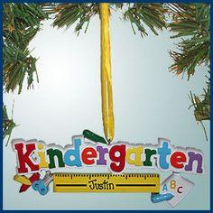 PersonalizedFree.com - Kindergarten Ruler Personalized Christmas Ornament, $12.99 (http://personalizedfree.com/kindergarten-ruler/)