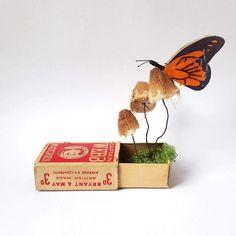 Kasasagi Paper Art sculpture craft hand made recycled materials Kate Kato Origami, Paper Art, Paper Crafts, Illustration Botanique, Bug Art, Matchbox Art, Illustrator, Nature Gif, Colossal Art